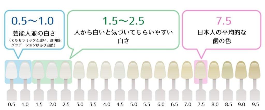 ホワイトニング専用歯の色見本