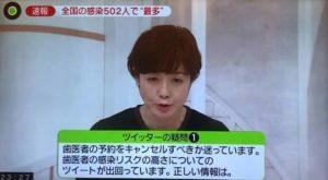 コロナウイルスの歯科に関するテレビ報道